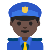 Man Police Officer: Dark Skin Tone on Google Android 7.1