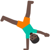 Man Cartwheeling: Dark Skin Tone on Google Android 7.1