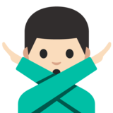 Man Gesturing No: Light Skin Tone on Google Android 7.1