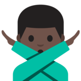 Man Gesturing No: Dark Skin Tone on Google Android 7.1