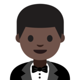 Person in Tuxedo: Dark Skin Tone on Google Android 7.1