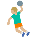 Man Playing Handball: Medium-Light Skin Tone on Google Android 7.1