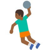Man Playing Handball: Medium-Dark Skin Tone on Google Android 7.1
