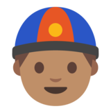 Man With Chinese Cap: Medium Skin Tone on Google Android 7.1