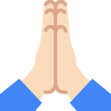 Folded Hands: Light Skin Tone on Google Android 7.1
