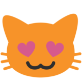 Smiling Cat With Heart-Eyes on Google Android 7.1