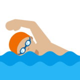 Person Swimming: Medium-Light Skin Tone on Google Android 7.1
