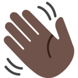 Waving Hand: Dark Skin Tone on Google Android 7.1