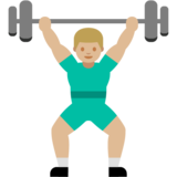 Person Lifting Weights: Medium-Light Skin Tone on Google Android 7.1