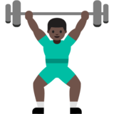 Person Lifting Weights: Dark Skin Tone on Google Android 7.1