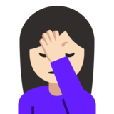 Woman Facepalming: Light Skin Tone on Google Android 7.1