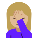 Woman Facepalming: Medium-Light Skin Tone on Google Android 7.1