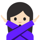 Woman Gesturing No: Light Skin Tone on Google Android 7.1