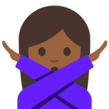 Woman Gesturing No: Medium-Dark Skin Tone on Google Android 7.1