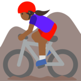 Woman Mountain Biking: Medium-Dark Skin Tone on Google Android 7.1