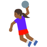 Woman Playing Handball: Medium-Dark Skin Tone on Google Android 7.1
