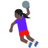 Woman Playing Handball: Dark Skin Tone on Google Android 7.1