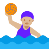 Woman Playing Water Polo: Medium-Light Skin Tone on Google Android 7.1