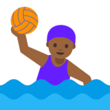 Woman Playing Water Polo: Medium-Dark Skin Tone on Google Android 7.1