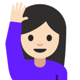 Woman Raising Hand: Light Skin Tone on Google Android 7.1