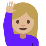 Woman Raising Hand: Medium-Light Skin Tone on Google Android 7.1