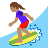 Woman Surfing: Medium Skin Tone on Google Android 7.1