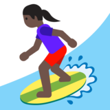 Woman Surfing: Dark Skin Tone on Google Android 7.1