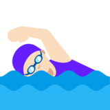 Woman Swimming: Light Skin Tone on Google Android 7.1