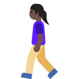 Woman Walking: Dark Skin Tone on Google Android 7.1