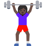 Woman Lifting Weights: Dark Skin Tone on Google Android 7.1