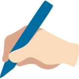 Writing Hand: Light Skin Tone on Google Android 7.1