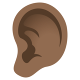 Ear: Medium-Dark Skin Tone on JoyPixels 5.5