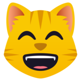 Grinning Cat with Smiling Eyes on JoyPixels 5.5