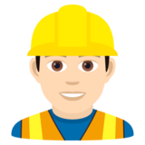 Man Construction Worker: Light Skin Tone on JoyPixels 5.5