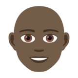 Man: Dark Skin Tone, Bald on JoyPixels 5.5