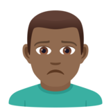 Man Frowning: Medium-Dark Skin Tone on JoyPixels 5.5