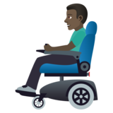 Man in Motorized Wheelchair: Dark Skin Tone on JoyPixels 5.5