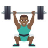 Man Lifting Weights: Medium-Dark Skin Tone on JoyPixels 5.5