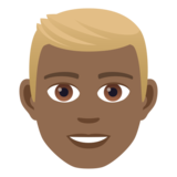 Man: Medium-Dark Skin Tone, Blond Hair on JoyPixels 5.5