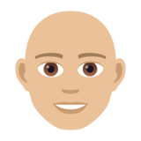 Man: Medium-Light Skin Tone, Bald on JoyPixels 5.5