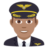 Man Pilot: Medium Skin Tone on JoyPixels 5.5