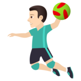 Man Playing Handball: Light Skin Tone on JoyPixels 5.5