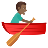 Man Rowing Boat: Medium-Dark Skin Tone on JoyPixels 5.5