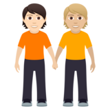People Holding Hands: Light Skin Tone, Medium-Light Skin Tone on JoyPixels 5.5