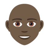 Person: Dark Skin Tone, Bald on JoyPixels 5.5
