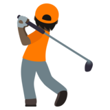 Person Golfing: Dark Skin Tone on JoyPixels 5.5