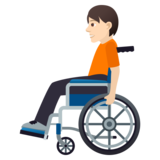 Person in Manual Wheelchair: Light Skin Tone on JoyPixels 5.5