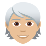 Person: Medium-Light Skin Tone, White Hair on JoyPixels 5.5