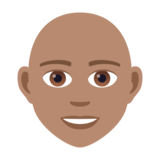 Person: Medium Skin Tone, Bald on JoyPixels 5.5