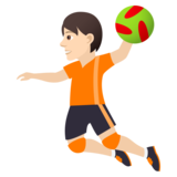 Person Playing Handball: Light Skin Tone on JoyPixels 5.5